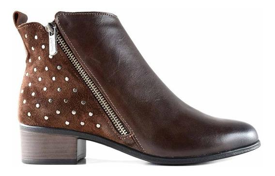 Bota Botineta Cuero Mujer Cavatini Zapato Taco - Mcbo24910