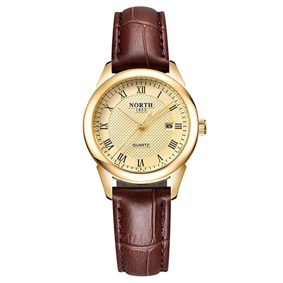 Reloj De Mujer North Modelo 6019-1wg Marrón Dorado