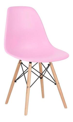 Imagem 1 de 6 de Cadeira Eames Jantar Cozinha Wood Dsw Eiffel Rosa Claro Bebe