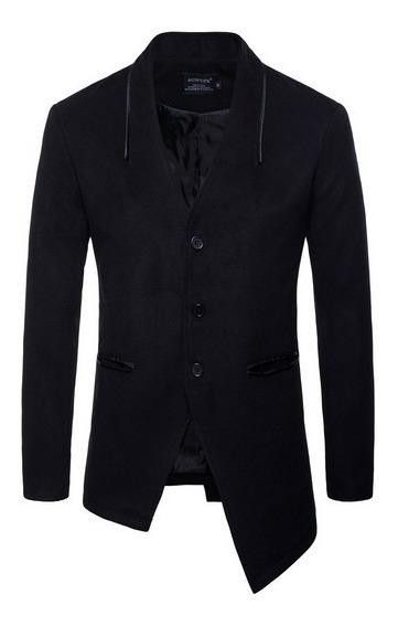 Abrigo Hombre Formal Corte Asimétrico Cuello V Slim Fit Moda