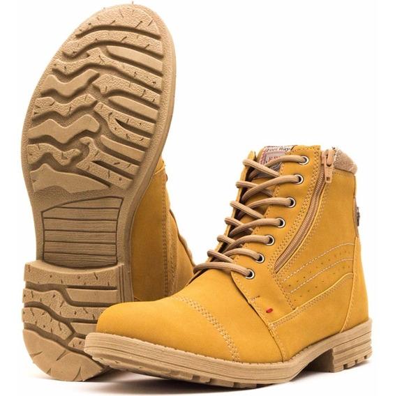 Bota Casual Masculino Coturno Sapato Moderno Fashion Amarelo