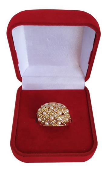 Anel Feminino Com Strass Brilho Pedra Folheado Ouro Promoção
