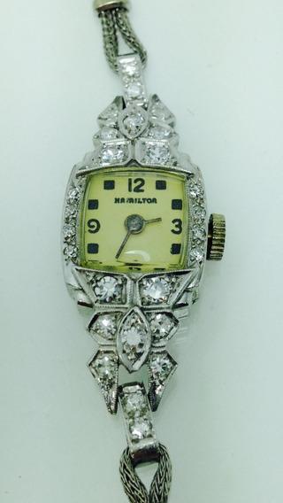 Reloj Hamilton De Platino Con Diamantes P/dama (ref 584)