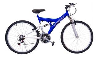 Bicicleta Mtb Forest Doble Suspension Rodado 26 - 18 V Azul