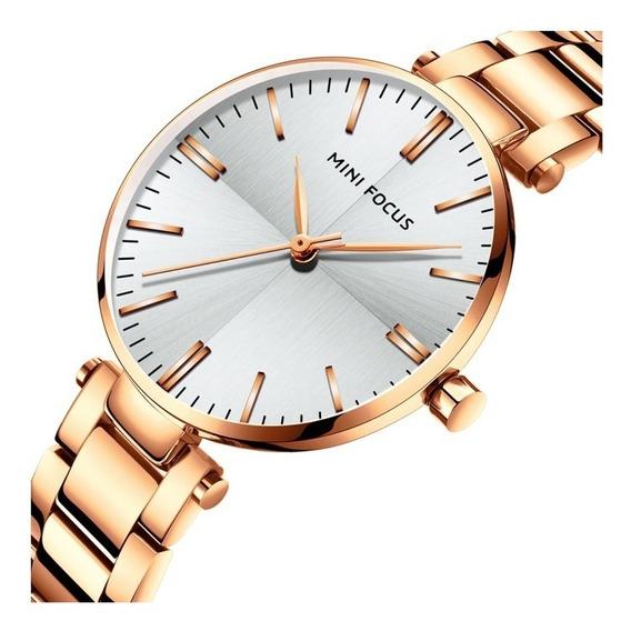 Reloj Para Dama Original Minifocus Elgante Moderno Oro 265l