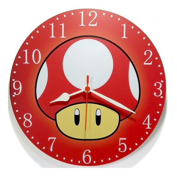 Relógio De Parede Cogumelo Super Mário Toad Nintendo 30 Cm