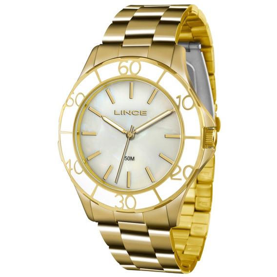 Relógio Lince Feminino Dourado Madrepérola Lrgj067l B1kx