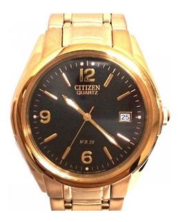 Reloj Citizen Bk2302 Acero Dorado Wr 50 Agente Oficial Jr