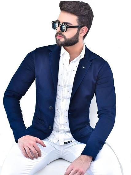 Blazer Masculino Slim Azul Marinho 12x S Juros Frete Grátis