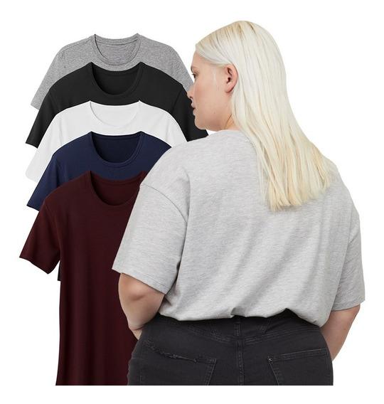 Kit Blusas Femininas Plus Size Camiseta Lisa Básica 5und