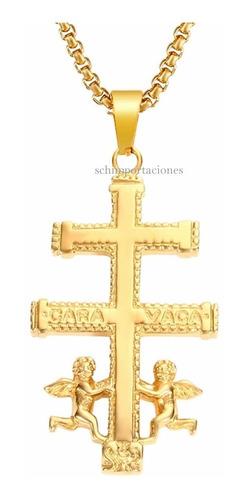 Nuevo Colgante Cruz De Caravaca - Acero - Dorado - Original