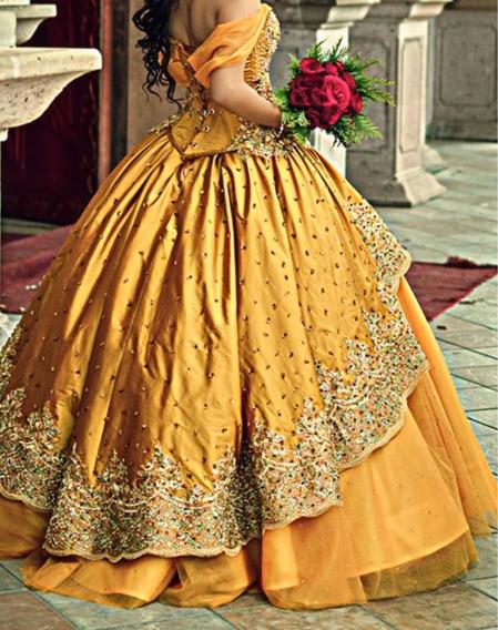 Vestido De Xv Años Color Mostaza Con Bordados