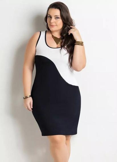 Vestido Feminino Plus Size Preto E Branco Roupa Elegante Moda Evangélica Promoção Noite Top