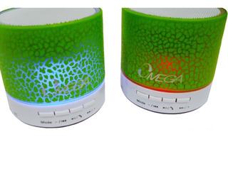 Parlante Bt-214 Verde Bluetooth Iluminado Omega