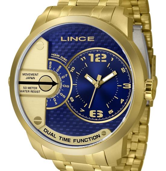 Relógio Lince Masculino Dourado Mostrador Azul Mrgh049s D2kx