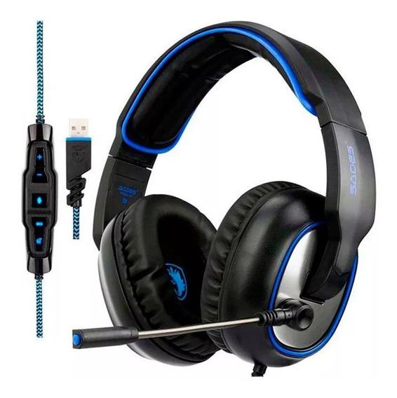 Fone Ouvido Headset Gamer 7.1 Sades R7 Usb Com Microfone