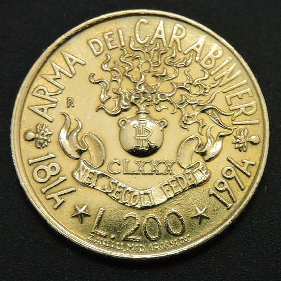 Italia 200 Liras 180 Aniv. De Los Carabineros