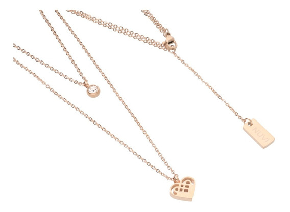 Set Collar Y Aretes Corazón Rose Gold | Acero Inoxidable