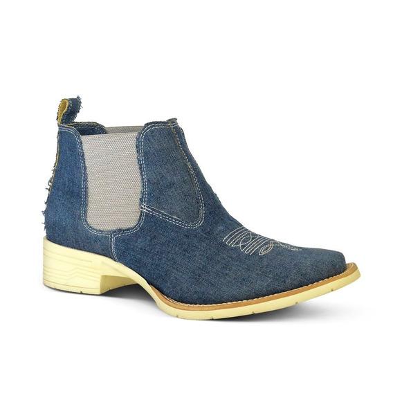 Botina Country Conforto Bq Tecido Jeans Feminina Azul Jeans