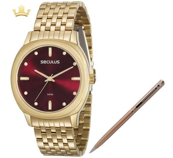 Relógio Seculus Feminino 20565lpsvds1 + Brinde Caneta Crown