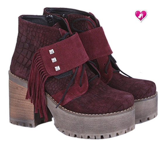 Borcego Acordonado Cuero Trabajado Mod Barbara Shoes Bayres