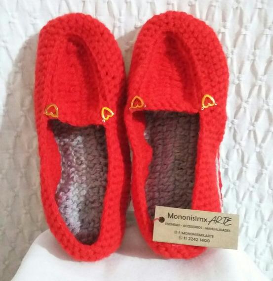 Pantuflas De Lana, (lho) Al Crochet, Super Abrigadas