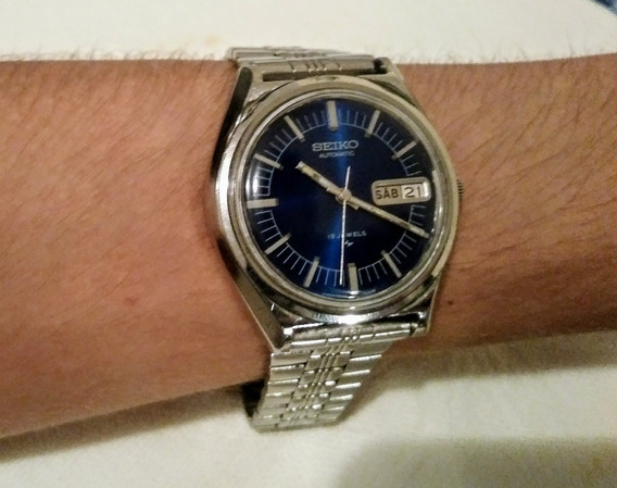 Relógio Antigo Seiko 7006 Mostrador Azul Automático Perfeito