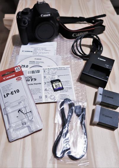 Câmera Canon Rebel T5 + Alça + 2 Baterias + Carreg + Sd 8gb