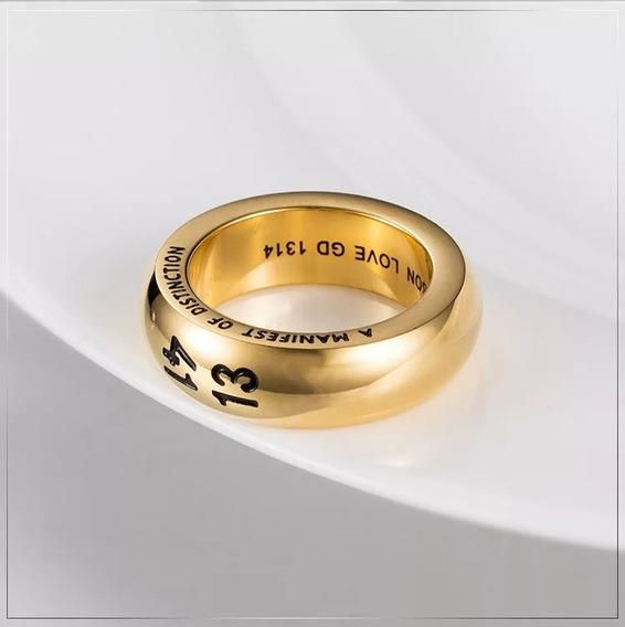Anel Aliança 1314 Amor Aço 316l Dourado