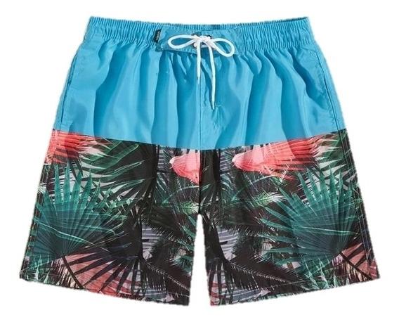 Short Bermuda Tropical Hombre Bicolor Hojas Playa