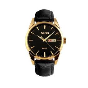 Relógio Skmei Analógico 9073p Preto E Dourado