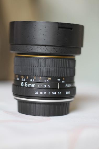 Lente Olho De Peixe Circular 6.5mm F/3.5 Da Opteka Canon