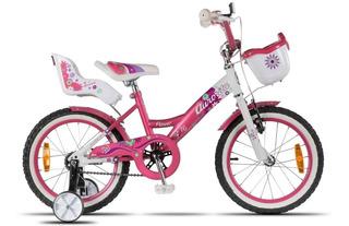 Bicicleta Niña Rod 16 Aurorita Flower Rosa Canasto Niño Rued