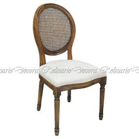 Cadeira Medalhão Encosco Palhinha Assento Estofado Lindo