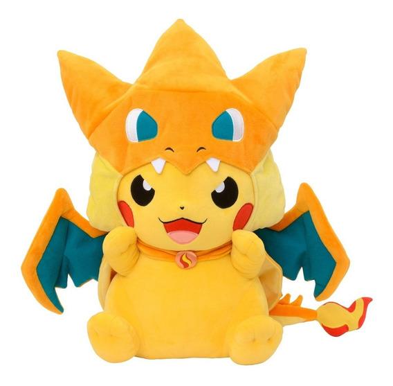 Pokemon Pikachu Pelúcia Com Mega Charizard Y