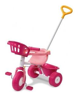 Triciclo Rondi Pink Y Blue Metal Con Barral Y Aro Sujetador