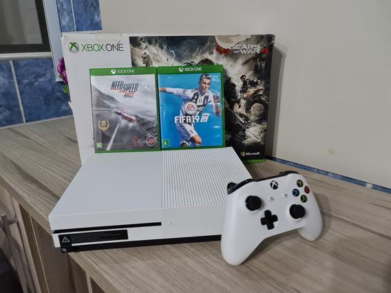 Xbox One S 1tb Branco Com 1 Controle E Jogos