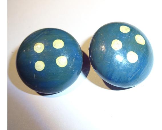 Aros De Madera Pintados Como Botones Azules Clip Broche 2cm