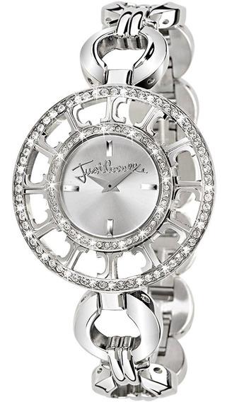 Relógio Feminino Prata Original Just Cavalli Cristais Grande