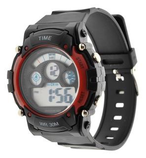 Reloj Hombre Digital Time. Deportivo Sumergible 3atm Tdig17