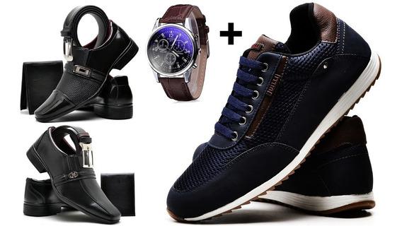 Kit 2 Sapato + 1 Tênis Azul + Relógio + Cinto + Carteira