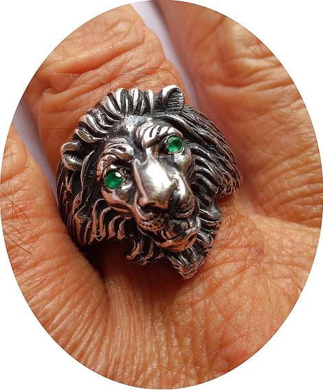 Anel Leão De Prata 950 K Com Olhos De Esmeraldas De 1 Ponto