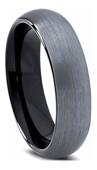 Aliança De Tungstênio Prata Escovada Creta 6mm