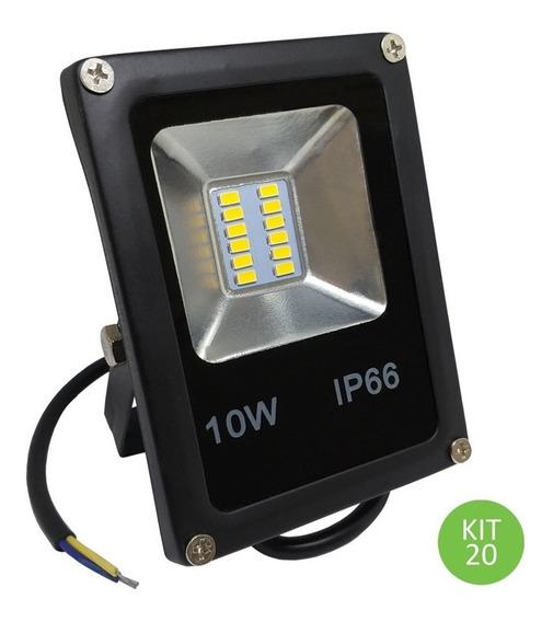 Refletor Led Smd 10w Branco Frio Ip66 Bivolt Kit 20