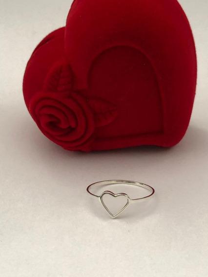 Anel Coração Vazado Feminino Prata 950 Delicado
