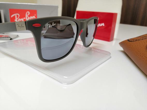 Óculos Sol Ray Ban Ferrari Wayfarer Rb4195m Liteforce Prata