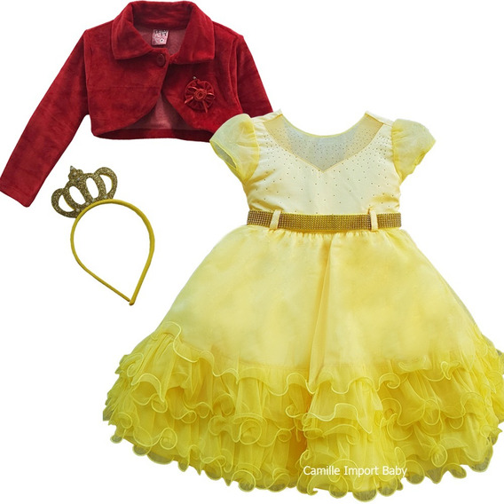 Vestido Infantil Luxo Bela E Fera Abelha Minnions E Bolero