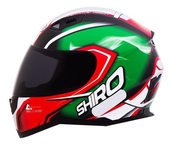 Capacete Motociclista Shiro Sh881 - Motegi - Verde / Vermelho