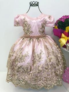 Vestido Princesa Aurora Realeza Renda Dourada Cód. 2190