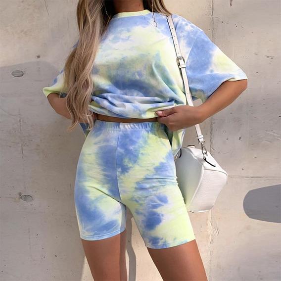 Conjunto De Duas Peças Tie Dye Estampa Básica T-shirt Shor